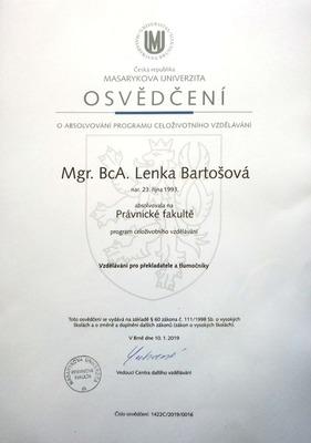 Certifikát o absolvování právního minima pro překladatele a tlumočníky na MUNI