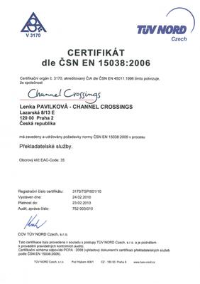 certifikace CSN EN15038