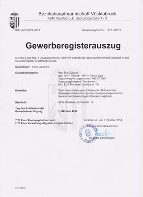 Živnostenské oprávnění - překladatelská a tlumočnická činnost, Rakousko