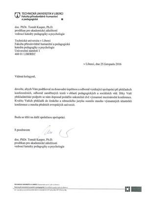 Technická univerzita v Liberci_Poděkování za spolupráci