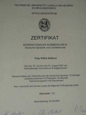 Certifikát po 3 týdenním kurzu na Technické Uni v Braunschweigu, Oberstufe 1-