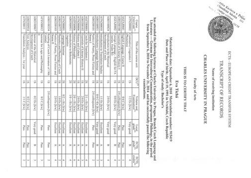 transcript of records Charles University